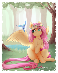 Size: 1000x1253 | Tagged: safe, artist:spittfireart, fluttershy, bird, pegasus, pony, border, crossed legs, cute, detailed background, feather, female, floral head wreath, flower, forest, grass, long mane, long tail, mare, pretty, shyabetes, signature, sitting, smiling, solo, tree, water