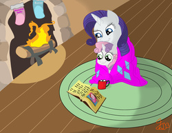Size: 6600x5100   Tagged: safe, artist:icesticker, pinkie pie, rarity, sweetie belle, absurd resolution, blanket, book, fire, hearth's warming eve, hot chocolate, marshmallow, rarity using marshmallows, sweetie belle using marshmallows