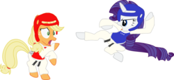 Size: 1024x476 | Tagged: dead source, safe, artist:foxy1219, applejack, rarity, earth pony, pony, unicorn, black belt, chest guard, clothes, duo, duo female, female, gi, headgear, mare, martial artist rarity, martial arts, robe, simple background, taekwondo, transparent background, trousers