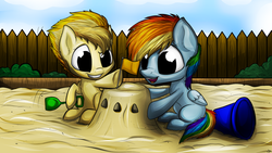 Size: 1024x576 | Tagged: artist:lupiarts, bucket, cute, cutefire, dashabetes, diabetes, female, filly, filly rainbow dash, filly spitfire, flag, fun, grin, hoof hold, open mouth, rainbow dash, safe, sandbox, sand castle, shovel, sitting, smiling, spitfire, underhoof, younger
