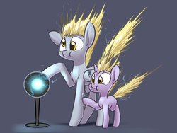 Size: 1400x1050 | Tagged: safe, artist:underpable, derpy hooves, dinky hooves, pegasus, pony, unicorn, :t, cute, derpabetes, dinkabetes, electricity, equestria's best daughter, equestria's best mother, female, filly, mare, mother and daughter, plasma ball, silly, silly pony, static, static electricity, underpable is trying to murder us