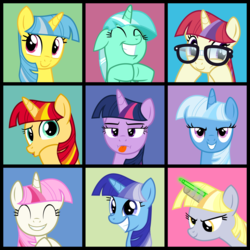 Size: 3040x3040 | Tagged: safe, artist:cheezedoodle96, derpy hooves, lemon hearts, lyra heartstrings, minuette, moondancer, sunset shimmer, trixie, twilight sparkle, twinkleshine, pegasus, pony, unicorn, .svg available, :d, :i, :p, adorableshine, alternate hairstyle, bangs, bedroom eyes, c:, canterlot six, counterparts, cute, dancerbetes, duckface, eyes closed, fake horn, female, frown, glare, glasses, glowstick, grin, gritted teeth, happy, hilarious in hindsight, hime cut, lemonbetes, lidded eyes, looking at you, lyrabetes, magical quartet, magical trio, mare, minubetes, pose, raised eyebrow, simple background, smiling, smirk, squee, svg, the brady bunch, the twily bunch, toilet paper roll, toilet paper roll horn, tongue out, twilight's counterparts, unicorn master race, vector, wall of tags, weapons-grade cute