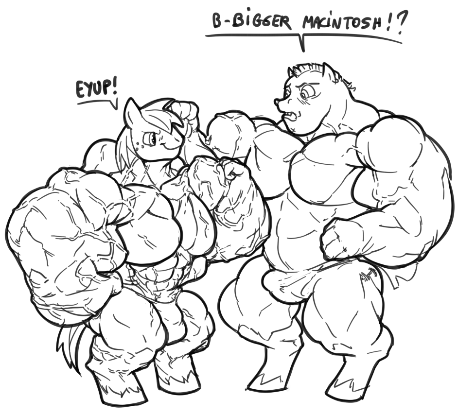 943788 Anthro Artist Furry Macintosh Bulk Biceps Flexing Great Growth Muscle Muscles