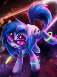 Size: 3065x4162 | Tagged: artist:dawnfire, bracelet, colored pupils, cute, dj pon-3, female, glasses, glowstick, happy, looking at you, mare, open mouth, pony, safe, solo, sunglasses, unicorn, vinylbetes, vinyl scratch