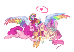 Size: 1597x1127 | Tagged: safe, artist:doodleteal, fluttershy, pinkie pie, rainbow dash, scootaloo, adopted offspring, adoption, cute, eyes closed, female, flutterdashpie, group hug, heart, hug, lesbian, parent:fluttershy, parent:pinkie pie, parent:rainbow dash, polyamory, scootadoption, scootalove, shipping, smiling, snuggling