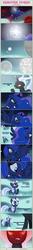 Size: 1475x11034   Tagged: safe, artist:estories, princess luna, oc, oc:obsidian, oc:silverlay, original species, umbra pony, comic:seeds of darkness, comic