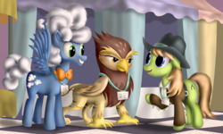 Size: 2000x1200 | Tagged: artist:dcencia, background griffon, background pony, clothes, cowboy hat, dead source, female, fluffy clouds, galena, griffon, hat, male, mare, pegasus, pony, princess spike (episode), safe, scene interpretation, slice of life (episode), stallion, trio, yuma spurs