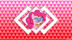 Size: 1920x1080 | Tagged: safe, artist:ahsokafan100, artist:zacatron94, pinkie pie, earth pony, pony, adorkable, alternate hairstyle, book, braces, cute, diamond, dork, female, glasses, mare, nerd pony, ponytail, smiling, solo, triangle, vector, wallpaper