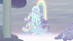 Size: 1280x720 | Tagged: safe, screencap, tanks for the memories, building, cloud, cloud house, house, no pony, rainbow, rainbow dash's house, rainbow waterfall, scenery
