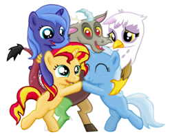 Size: 1145x923   Tagged: safe, artist:majkashinoda626, discord, gilda, princess luna, sunset shimmer, trixie, alicorn, draconequus, griffon, hippogriff, pony, unicorn, bipedal, blank flank, cute, daaaaaaaaaaaw, diatrixes, discute, eyes closed, female, filly, filly sunset shimmer, filly trixie, fledgeling, foal, gildadorable, group hug, happy, heartwarming, hug, looking at you, lunabetes, male, open mouth, reformed, s1 luna, shimmerbetes, simple background, smiling, smiling at you, standing, sweet dreams fuel, transparent background, weapons-grade cute, woona, young, young discord, younger