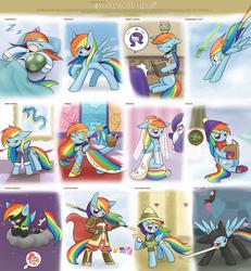 Size: 2020x2183 | Tagged: safe, artist:howxu, applejack, daring do, lightning dust, pinkie pie, rainbow dash, rarity, soarin', spitfire, tank, twilight sparkle, gyarados, owl, pegasus, pony, semi-anthro, balancing, bipedal, blushing, book, cape, clothes, cute, dashabetes, dress, eyes closed, floppy ears, frown, gala dress, glare, grin, hat, high res, hoof hold, journey to the west, misspelling, model, modeling, monkey king, mouth hold, ninja, ninjato, open mouth, pajamas, pigsy, pinkie being pinkie, prone, rainbow dash always dresses in style, raised hoof, reading, sha wujing, shadowbolt dash, shadowbolts costume, sitting, sleeping, smiling, smirk, snoring, spread wings, staff, stormcloud, sun wukong, sweatdrop, sword, tang sanzang, unamused, uniform, wardrobe meme, wavy mouth, weapon, wedding dress, wedding veil, wonderbolt trainee uniform, xuanzang, zzz
