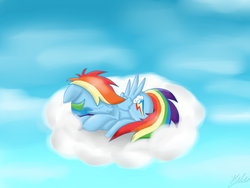 Size: 3264x2448 | Tagged: safe, artist:hilis, rainbow dash, pegasus, pony, cloud, cloudy, day, female, high res, lying down, lying on a cloud, on a cloud, sky, sleeping, solo