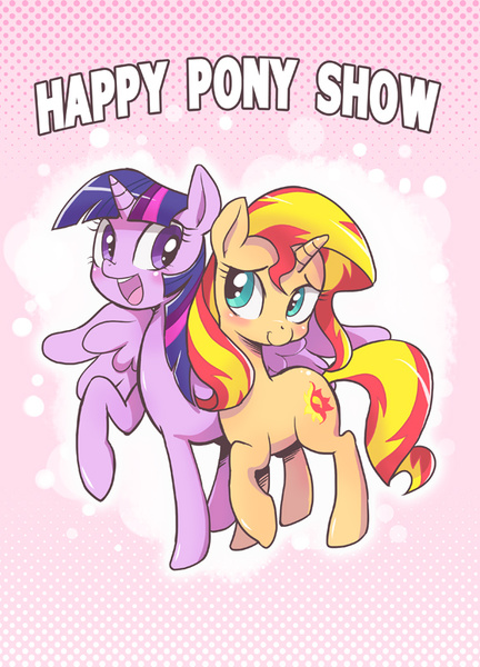 Size: 576x800 | Tagged: safe, artist:k-nattoh, sunset shimmer, twilight sparkle, alicorn, pony, unicorn, blushing, cover, cute, featured image, female, horn, hug, lesbian, mare, multicolored mane, open mouth, open smile, purple eyes, raised hoof, shipping, smiling, spread wings, sunsetsparkle, sweet dreams fuel, tail, teal eyes, twilight sparkle (alicorn), two toned mane, two toned tail, wholesome, winghug, wings