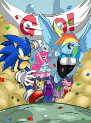 "Size: 2234x3000 | Tagged: safe, artist:ss2sonic, derpy hooves, pinkie pie, rainbow dash, spike, twilight sparkle, anthro, unguligrade anthro, amy rose, breasts, busty rainbow dash, clothes, crossover, female, miles ""tails"" prower, race, sonic the hedgehog, sonic the hedgehog (series)"