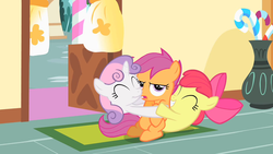 Size: 1280x720 | Tagged: safe, screencap, apple bloom, scootaloo, sweetie belle, earth pony, pony, the cutie mark chronicles, annoyed, cutie mark crusaders, eyeroll, eyes closed, frown, gang hape, grin, group hug, hape, hug, non-consensual cuddling, scootaloo is not amused, sitting, smiling, squee