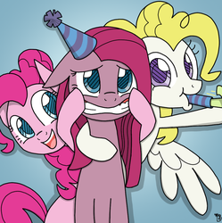 Size: 1022x1028   Tagged: safe, artist:galefeather, pinkie pie, surprise, fanfic art, hat, multiple personality, party hat, party horn, pinkamena diane pie, pinkie personalities, trinity pie