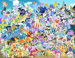 Size: 2030x1568 | Tagged: safe, allie way, aloe, amethyst star, apple bloom, apple fritter, applejack, aunt orange, beauty brass, berry punch, berryshine, big macintosh, blaze, blossomforth, bon bon, braeburn, bulk biceps, caesar, caramel, carrot cake, carrot top, cheerilee, cherry berry, cherry cola, cherry fizzy, cherry jubilee, cloud kicker, cloudchaser, cloudy quartz, comet tail, cookie crumbles, cup cake, daisy, derpy hooves, diamond tiara, dinky hooves, dizzy twister, dj pon-3, doctor whooves, fancypants, filthy rich, fire streak, flam, fleetfoot, fleur-de-lis, flim, flitter, flower wishes, fluttershy, frederic horseshoepin, golden harvest, granny smith, high winds, hoity toity, holly dash, hondo flanks, hugh jelly, igneous rock pie, junebug, lickety split, lightning bolt, lightning streak, lily, lily valley, limestone pie, lotus blossom, lyra heartstrings, lyrica lilac, marble pie, mayor mare, merry may, minuette, misty fly, mjölna, mosely orange, mr breezy, neon lights, night light, nurse coldheart, nurse redheart, nurse sweetheart, nurse tenderheart, octavia melody, orange swirl, parish nandermane, photo finish, pinkie pie, pipsqueak, pokey pierce, pound cake, powder rouge, prince blueblood, princess cadance, princess celestia, princess luna, pumpkin cake, rainbow dash, rainbowshine, rarity, regal candent, rising star, roseluck, rumble, sapphire shores, scootaloo, screw loose, screwball, shady daze, sheriff silverstar, shining armor, silver lining, silver spoon, silver zoom, snails, snips, soarin', soigne folio, sparkler, spitfire, spring melody, sprinkle medley, sunshower raindrops, surprise, sweetie belle, sweetie drops, thunderlane, time turner, trixie, truffle shuffle, twilight sparkle, twilight velvet, twist, vidala swoon, vinyl scratch, wave chill, white lightning, writing desk, zecora, pegasus, pony, zebra, apple family member, baby, baby pony, cake family, camera, cider, clusterfuck, cutie mark crusaders, everypony, female, flim flam brothers, hat, 