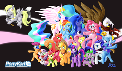 Size: 2183x1276 | Tagged: safe, artist:blue-paint-sea, apple bloom, applejack, big macintosh, derpy hooves, fluttershy, gilda, pinkie pie, princess celestia, princess luna, rainbow dash, rarity, scootaloo, spike, sweetie belle, trixie, twilight sparkle, alicorn, dragon, earth pony, griffon, pony, unicorn, bipedal, bow, cape, clothes, cutie mark crusaders, floating, glasses, grin, gritted teeth, group, happy, jumping, lidded eyes, looking at you, mane seven, mane six, one eye closed, open mouth, ponykart, raised eyebrow, raised hoof, scarf, smiling, spread wings, trixie's cape, wallpaper