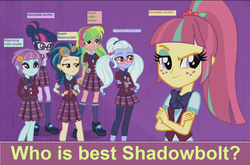 Size: 1276x844 | Tagged: safe, edit, edited screencap, screencap, indigo zap, lemon zest, sci-twi, sour sweet, sugarcoat, sunny flare, twilight sparkle, equestria girls, friendship games, answers in the comments, clothes, crystal prep academy, crystal prep academy uniform, crystal prep shadowbolts, discussion, glasses, pigtails, ponytail, question, school uniform, shadow six, shoes