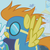 Size: 437x437 | Tagged: safe, screencap, blaze, pegasus, pony, the ticket master, background pony, canterlot, female, goggles, mare, solo focus, wonderbolts