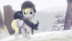 Size: 3840x2160 | Tagged: safe, artist:gergta, derpy hooves, pegasus, pony, 3d, crossover, cute, female, helmet, mare, rocket launcher, sandwich, soldier, solo, source filmmaker, team fortress 2
