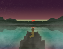 Size: 3300x2550 | Tagged: safe, artist:liracrown, applejack, earth pony, pony, applejack's hat, beautiful, dawn, female, fishing, fog, hat, high res, lake, mare, rear view, scenery, scenery porn, shadow, signature, solo, stars, sun, twilight (astronomy), water