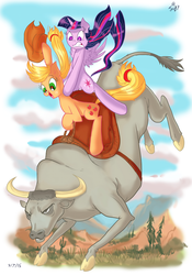 Size: 605x864 | Tagged: safe, artist:jowybean, applejack, twilight sparkle, alicorn, bull, earth pony, pony, twijack weekly, bucking, bull riding, cloven hooves, female, gritted teeth, lesbian, male, mare, open mouth, ponies riding bulls, riding, rodeo, saddle, shipping, twijack, twilight sparkle (alicorn)