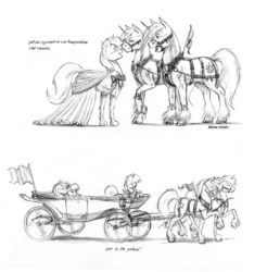Size: 1200x1218 | Tagged: safe, artist:baron engel, oc, oc only, oc:carousel, oc:petina, oc:sky brush, breast collar, bridle, cart, clothes, dress, eyes on the prize, harness, monochrome, pencil drawing, stockings, story in the source, tack, traditional art, unshorn fetlocks