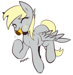 Size: 747x759   Tagged: safe, artist:maren, derpy hooves, pegasus, pony, cute, eyes closed, female, food, mare, muffin, simple background, solo, that pony sure does love muffins, white background
