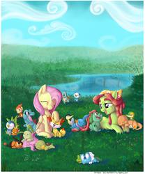 Size: 1500x1800 | Tagged: safe, artist:impydoo, fluttershy, tree hugger, bulbasaur, charmander, chespin, chikorita, chimchar, cyndaquil, fennekin, froakie, mudkip, oshawott, piplup, snivy, squirtle, tepig, torchic, totodile, treecko, turtwig, crossover, cute, grass, pokémon, pond, sleeping, that pony sure does love animals