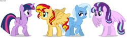 Size: 3000x900 | Tagged: safe, artist:asika-aida, starlight glimmer, sunset shimmer, trixie, twilight sparkle, alicorn, pony, alicornified, bedroom eyes, counterparts, everyone is an alicorn, frown, magical quartet, open mouth, race swap, raised eyebrow, raised hoof, shimmercorn, smiling, smirk, spread wings, starlicorn, trixiecorn, twilight sparkle (alicorn), twilight's counterparts, wide eyes, xk-class end-of-the-world scenario
