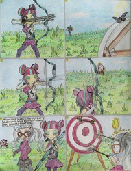 Size: 1024x1337 | Tagged: safe, artist:meiyeezhu, sour sweet, sugarcoat, insect, equestria girls, friendship games, archery, arrow, bow (weapon), bow and arrow, clothes, comic, crystal prep academy, crystal prep shadowbolts, exclamation point, eyes closed, glasses, gloves, impalement, insect pin, old master q, parody, pigtails, practice, quiver, school uniform, shivering, shocked, shooting, speechless, sports, target, traditional art, weapon
