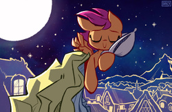 Size: 4000x2600   Tagged: dead source, safe, artist:inkypsycho, scootaloo, eyes closed, female, full moon, moon, night, pillow, ponyville, sleeping, solo, stars