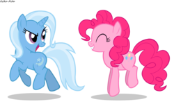 Size: 1500x900 | Tagged: safe, artist:asika-aida, pinkie pie, trixie, pony, unicorn, eyes closed, female, grin, happy, looking back, mare, open mouth, pronking, simple background, smiling, smirk, transparent background, vector