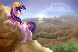 Size: 2087x1401 | Tagged: safe, artist:segraece, twilight sparkle, alicorn, pony, crepuscular rays, dawn, female, hard hat, hat, mare, mountain, mountaineering, solo, sunrise, twilight sparkle (alicorn)