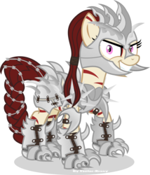 Size: 2889x3377 | Tagged: safe, artist:vector-brony, oc, oc only, oc:rampage, earth pony, pony, fallout equestria, fallout equestria: project horizons, armor, barbed wire, metal, party time mintals, simple background, spikes, transparent background, vector