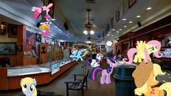 Size: 900x506 | Tagged: safe, artist:mr-kennedy92, applejack, derpy hooves, fluttershy, pinkie pie, rainbow dash, rarity, twilight sparkle, pegasus, pony, female, gold and silver pawn shop, irl, las vegas, mane six, mare, pawn shop, pawn stars, photo, ponies in real life