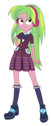 Size: 3500x8694 | Tagged: absurd res, artist:mixiepie, bowtie, clothes, crystal prep academy, crystal prep academy uniform, cute, equestria girls, friendship games, headphones, lemon zest, pleated skirt, safe, school uniform, shadowbolts, simple background, skirt, solo, transparent background, vector, zestabetes
