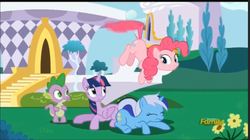 Size: 989x553 | Tagged: alicorn, amending fences, female, mare, minuette, pinkie being pinkie, pinkiecopter, pinkie physics, pinkie pie, pony, safe, screencap, spike, tailcopter, twilight sparkle, twilight sparkle (alicorn)