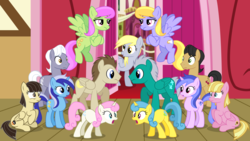 Size: 6000x3383 | Tagged: safe, artist:cheezedoodle96, buddy, cherry cola, cherry fizzy, cloud kicker, crescent pony, derpy hooves, lemon hearts, mane moon, meadow flower, merry may, minuette, royal riff, sea swirl, seafoam, twinkleshine, wild fire, pegasus, pony, slice of life (episode), awkward, background pony, female, m.a. larson, male, mare, recolor, stallion, town hall, twins, vector, wedding