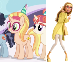 Size: 921x766   Tagged: safe, screencap, booksmart, honey lemon, moondancer's sister, morning roast, pony, unicorn, amending fences, big hero 6, bookseller, comparison, disney, hat, looking at you, open mouth, party hat, peace sign, ponified, smiling