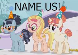 Size: 479x335   Tagged: safe, screencap, booksmart, honey lemon, moondancer's sister, morning roast, pony, unicorn, amending fences, big hero 6, eyebrows, glasses, hat, lidded eyes, party hat, raised hoof, smiling