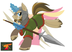 Size: 800x582 | Tagged: safe, artist:itstaylor-made, oc, oc only, oc:guilder, armor, facial hair, magic, magic aura, scar, simple background, spear, transparent background, unshorn fetlocks