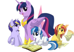 Size: 1024x724 | Tagged: safe, artist:itstaylor-made, twilight sparkle, oc, oc:inkwell, oc:moonlily, oc:star serenity, alicorn, earth pony, pony, unicorn, book, female, foal, library of harmony, magic, mare, scroll, twilight sparkle (alicorn)