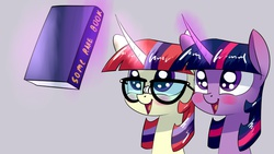 Size: 1280x720 | Tagged: safe, artist:underpable, moondancer, twilight sparkle, alicorn, pony, unicorn, derpin daily, amending fences, :d, adorkable, bibliophile, bibliophilia, blushing, book, broken glasses, bust, cute, dancerbetes, dork, eyes on the prize, female, glasses, gray background, levitation, magic, mare, nerd, nerd pony, open mouth, portrait, simple background, smiling, some rare book, standard canterlotian bookhorse hairdo, telekinesis, that pony sure does love books, twiabetes, twilight sparkle (alicorn), underpable is trying to murder us