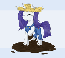 Size: 1000x905 | Tagged: safe, artist:wolfypon, rarity, pony, unicorn, simple ways, clothes, cute, dirty, female, happy, mud, rarihick, solo