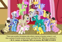 Size: 1600x1090 | Tagged: safe, artist:cheezedoodle96, buddy, cherry cola, cherry fizzy, cloud kicker, crescent pony, derpy hooves, lemon hearts, mane moon, meadow flower, merry may, minuette, royal riff, sea swirl, seafoam, twinkleshine, wild fire, pegasus, pony, slice of life (episode), background pony, female, m.a. larson, mare, palette swap, recolor, town hall, vector, wedding, what could have been