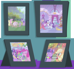 Size: 734x682 | Tagged: amending fences, apple, applejack, apple tree, cute, flower, fluttershy, lei, luau, photo, picture, picture frame, pig, pinkie pie, rarity, safe, spike, tree, twilight sparkle