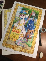 Size: 768x1024 | Tagged: safe, artist:andypriceart, artist:katiecandraw, philomena, princess celestia, princess luna, tiberius, opossum, phoenix, pony, bindle, box, frown, glare, luna is not amused, mouth hold, pony in a box, sisters, sitting, smiling, squishy cheeks, traditional art, unamused