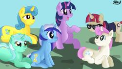 Size: 1280x720 | Tagged: safe, lemon hearts, lyra heartstrings, minuette, moondancer, twilight sparkle, twinkleshine, alicorn, pony, unicorn, amending fences, adorableshine, canterlot six, cute, dancerbetes, lemonbetes, lyrabetes, minubetes, twiabetes, twilight sparkle (alicorn)
